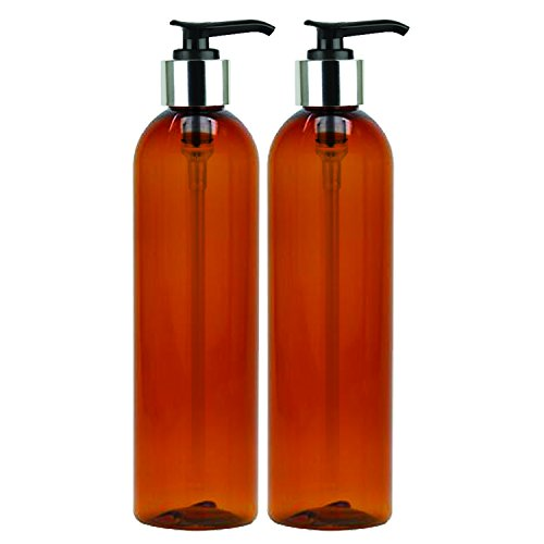 MoYo Natural Labs 8 oz Pump Dispenser, Empty Soap and Lotion Bottles with Locking Cap, BPA Free PET Plastic Containers for Essential Oils/Liquids (2 pack, Amber) from MoYo Natural Labs