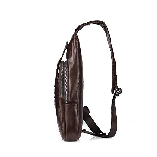 bolso Bolso cuero bolso la Bolso de pecho pecho de hombres bandolera ocasional de superior bolso de los lugares ligero cuero los pecho de hombres convenientes de de vendimia Brown Dark de de hombro ocio RR8E4