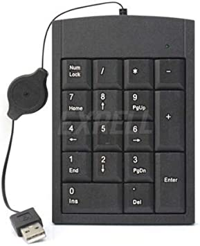 NodArtisan Numeric Keypad Number 17 Keys Pad Keyboard with Retractable USB Cable for Laptop