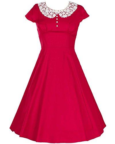 Damen Elegant Cocktailkleid Ärmellos Sommerkleid Spitze Hochzeit Partykleid Rot nEvyBzMlMt