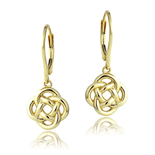 - Yellow Gold Flashed Sterling Silver Love Knot Flower Dangle Leverback Earrings