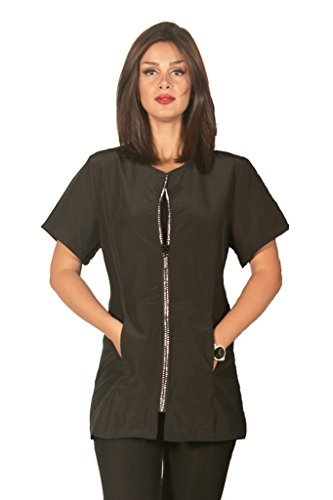 Ladybird Line Women Stylist Rhinestone Jacket Estheticians Bleach Resistant Black (Large) by Ladybird ()