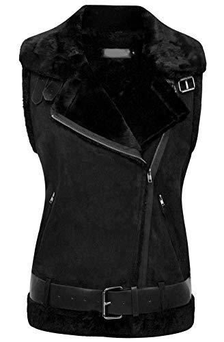 - chouyatou Women's Winter Notched Collar Oblique-Zip Sherpa Lined Suede Waistcoat Vest (XX-Large, Black)