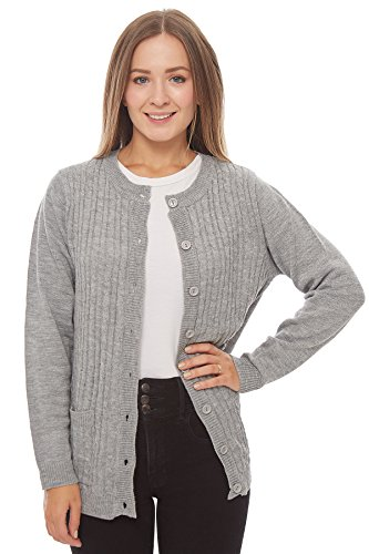 Knit Minded Long Sleeve Two Pocket Cable Knit Cardigan Sweater Heather Grey -