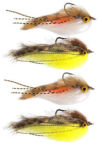 The Fly Crate Lunchable Streamer Assortment   Fly Fishing for Trout Bass Pike   Size 2 (4 Pack)