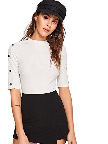 (WDIRARA Women's Elegant Basic Tee Shirt Mock Neck Half Sleeve Solid Slim Fit Top White L )