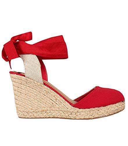 - Womens Closed Toe Lace Up Espadrille Platform Wedges Sandals Shoes Canvas Ankle Tie Strap Dress Shoes