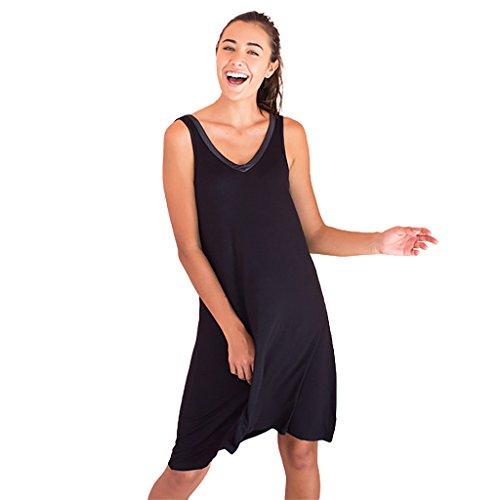 Faceplant Dreams Dreamwear Bamboo V-Neck Nightshirt (Medium, Black)