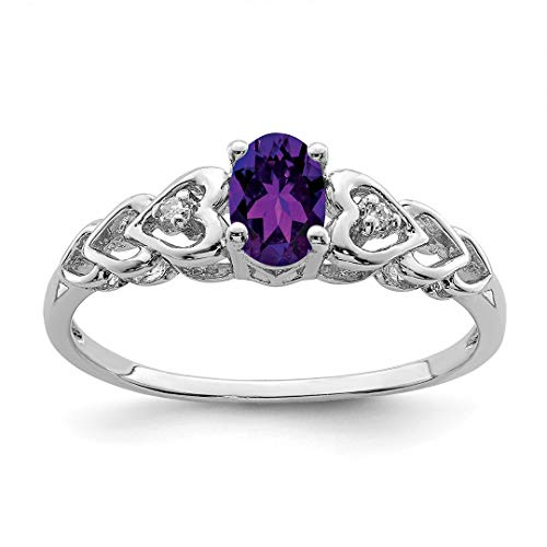 Diamond Ring Engagment Set - 925 Sterling Silver Purple Amethyst Diamond Band Ring Size 9.00 Birthstone February Gemstone Set Fine Jewelry Gifts For Women For Her
