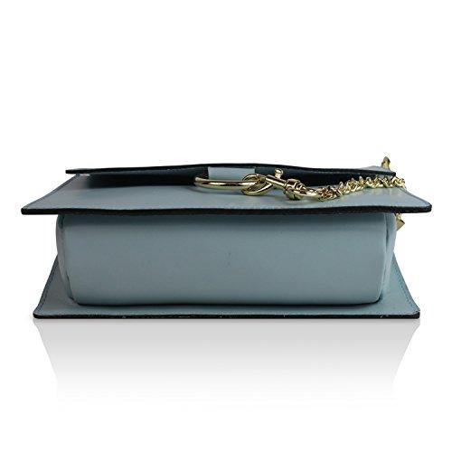 Gloop Damen Clutch echt Leder Tasche Abendtasche mit Kette Handtasche Made in Italy 1.011.3 Hell Blau IlXbbwD1Q