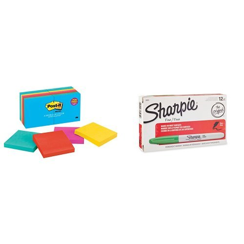 - Sharpie Permanent Markers, Fine Point, Green, Box of 12 and Post-it Notes, Jaipur Collection, 14 Pads Bundle