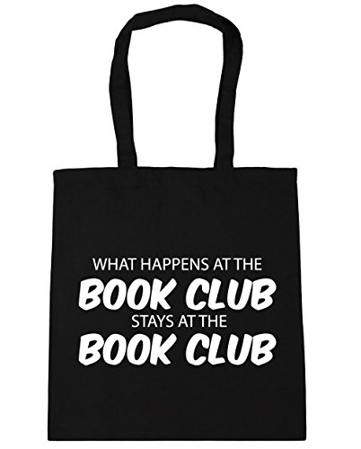 HippoWarehouse What happens at the book club stays at the book club Tote Shopping Gym Beach Bag 42cm x38cm, 10 litres Black