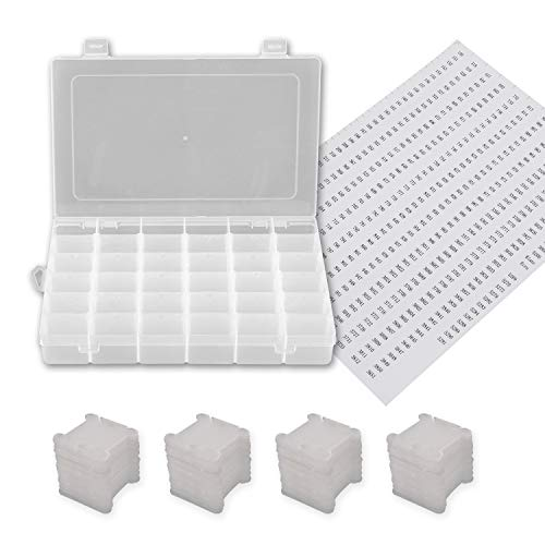 1 Pack 36 Grids Plastic Embroidery Floss Cross Stitch Organizer Box with 108 Pieces Floss Bobbins
