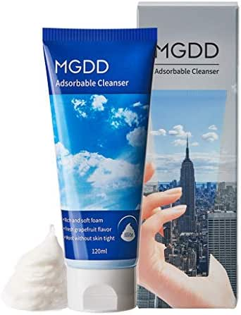 MGDD Adsorbable Cleanser 120ml - Deep Pore Refining Facial Foam, Whip Texture Perfect Makeup & Waste Remover, Soothing & Brightening Care for Oily & Acne Combination Skin (1 Pack)