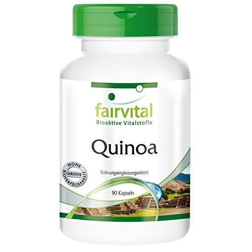 Quinoa 700mg - Chenopodium quinoa Willd - Reinsubstanz - 90 Kapseln - vegetarisch - alle neun essentiellen Aminosäuren, B-Vitamine, einen Mineralstoff-Komplex, Lysin und den Serotonin-Vorläufer Tryptophan