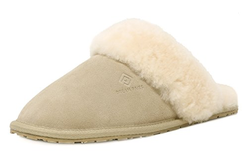 Slippers Dreams (DREAM PAIRS Women's BLIZ Sand Sheepskin Slip On House Slippers Indoor & Outdoor Winter Shoes Size 9.5-10 M US)