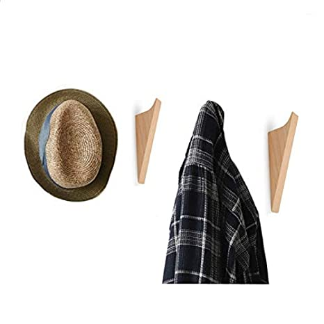 Amazon.com: Juego de 4 ganchos de madera de haya natural ...