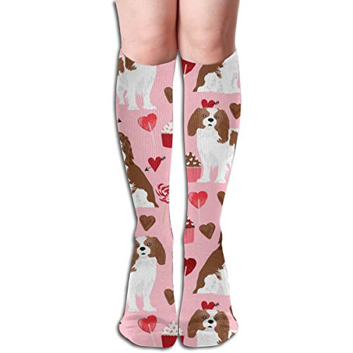 Cavalier King Charles Cotton Stockings - Cavalier King Charles Spaniel Love Valentines Cute Dogs Design Unisex Knee High Long Socks Over Calf Casual Sport Stocking