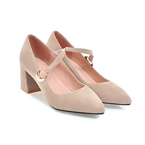 HRCxue Pumps EIN Wort flachen Mund dick mit einzelnen einzelnen einzelnen Schuhen der Frauen High Heels beige Spitze Ferse fc2bc0
