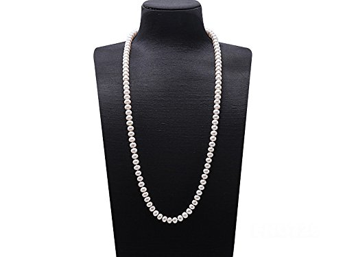 - JYX Pearl Necklace AAA Quality 9-10mm Near-Round White Cultured Freshwater Pearl Necklace Long Sweater Necklace 32