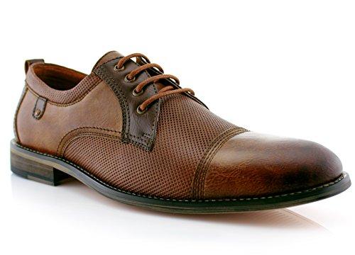 Ferro Aldo Felix MFA19605L Mens Casual Cap Toe Perforated Oxford Dressing Shoes – Brown, Size 13