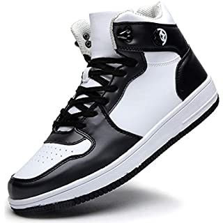 Eagsouni Mens Womens High Top Lace Up Fashion Sneaker Shoes Black White