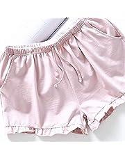PRETYZOOM Pantalones Cortos Caseros Mujeres Pantalones Cortos de Algodón Casuales Pantalones Cortos de Playa de Verano Pantalones Cortos Sueltos Pantalones Cortos Pijamas para Dama (Talla L Rosa)
