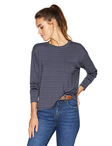 (Amazon Brand - Daily Ritual Women's Jersey Long-Sleeve Boxy Pocket Tee, Navy-White Stripe, Medium)