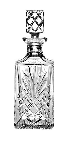 Barski - Hand Cut - Mouth Blown - Crystal - Whiskey - Square Decanter - 30 oz. - Made in Europe