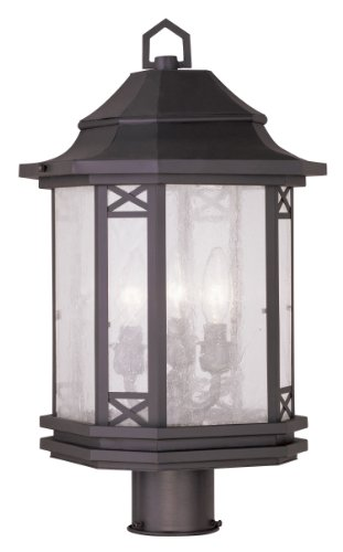 Livex Lighting 2314-07 Tahoe 3-Light Outdoor Post Head, (Bronze Tahoe Transitional Wall)