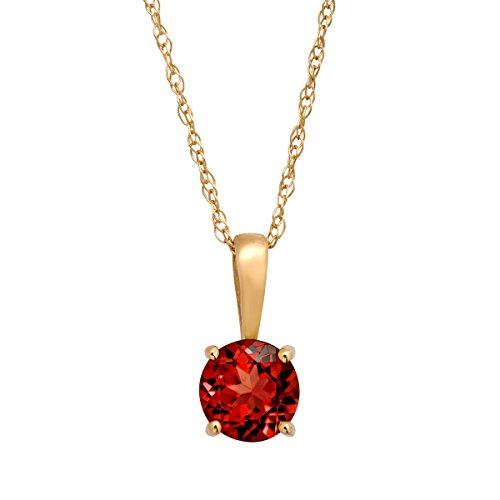 5/8 ct Natural Garnet Pendant Necklace in 10K Yellow Gold, 16