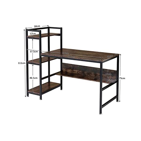 Bureau avec étagère BOTONE, étagère, table d'ordinateur pour bureau, design industriel, table PC avec armature en métal…