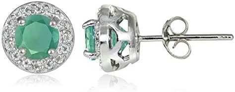 Sterling Silver Choice Of Emerald, Ruby or Sapphire & White Topaz 5mm Halo Stud Earrings