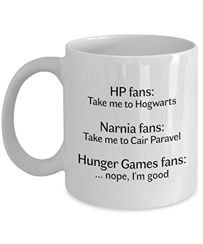 HP Coffee Mug Narnia Hunger Games Tea Cup Funny Novelty Gift Idea for Fans of Young Adult Books Movies Hogwarts Express for $<!--$14.95-->