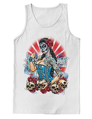 Day of The Dead Pinup - Skulls Roses Men's Tank Top (White, Medium) ()