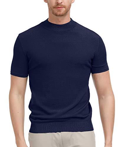 4acaebb2 PAUL JONES Men's Short Sleeves Mockneck Tee Knitting Pullover Sweater  Lightweight Mock Turtleneck Shirt Navy,