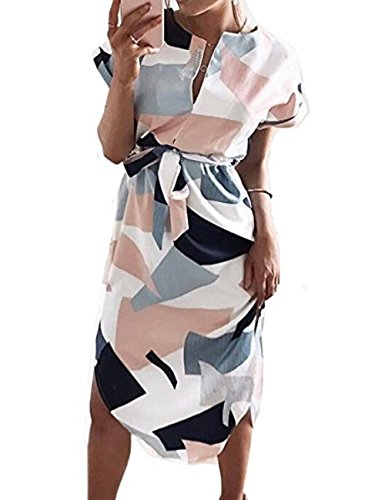 Halife Women Floral Print Short Sleeve Ladies Summer Party Holiday Short Mini Dress