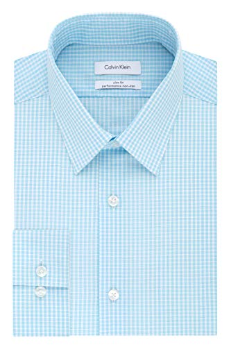 Calvin Klein Men's Dress Shirt Non Iron Stretch Slim Fit Check, Aqua, 17