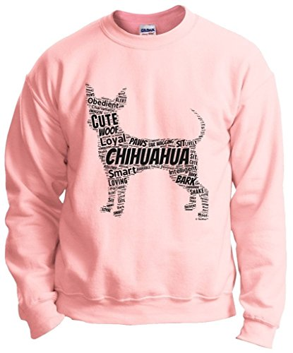 Dog Clothes Chihuahua Word Art Dog Puppy Owner Gift Crewneck Sweatshirt Small LtPnk