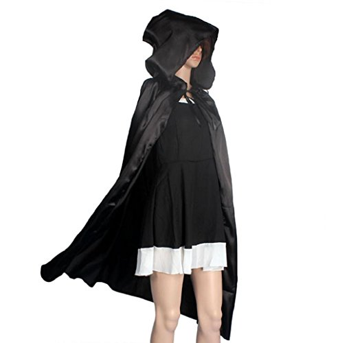 Black Hooded Panne Cloak (Halloween Costumes Mallcat Hooded Cloak Coat Wicca Robe Shawl For Halloween Party (S, Black))