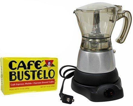 Electric Espresso Coffee Makes 3-6 Cups. 10 oz Bustelo Espresso Coffee Pack Included by Bene Casa