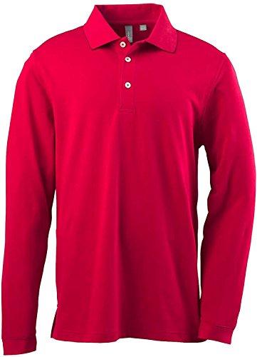 Ashworth 1352 Mens EZ-Tech Long-Sleeve Polo - Carmine Red - XL