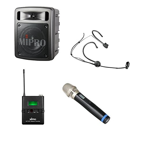 MIPRO MA-303BduHT (5A) Portable Wireless Dual-Receiver 60-Watt PA Bluetooth System with USB Player / Recorder (5A Band, Handheld Mic, Headworn Mic)