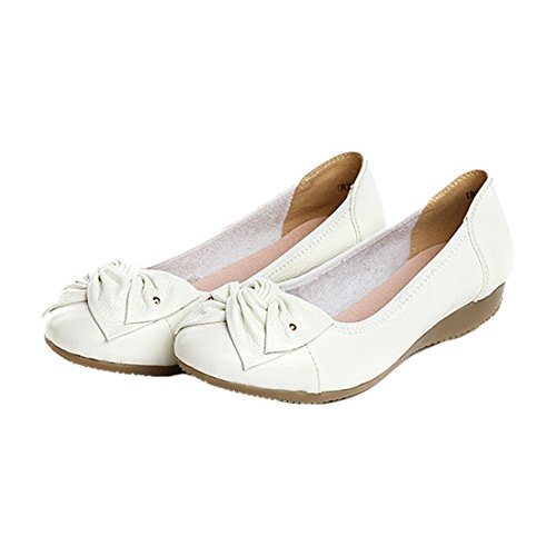 Flats Shoes - SODIAL(R)Handmade genuine leather ballet women female casual shoes women flats shoes slip on car-styling driving loafer White US9 PIr4f