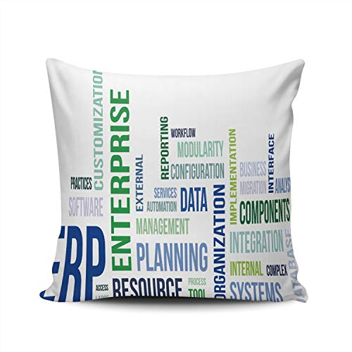 MUKPU Pillow Covers A Word Cloud of Enterprise Resource Planning Throw Pillow Case Hidden Zipper Decorative Custom Pillow Cases Double Sides Printed Square 16x16 Inches