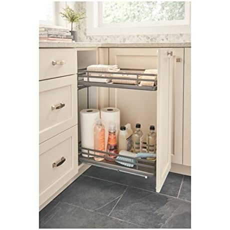 Rev A Shelf 5322 BCSC 9 FOG 5322 Series 12 Inch Two Tier Pull Out Base Organizer Orion Gray