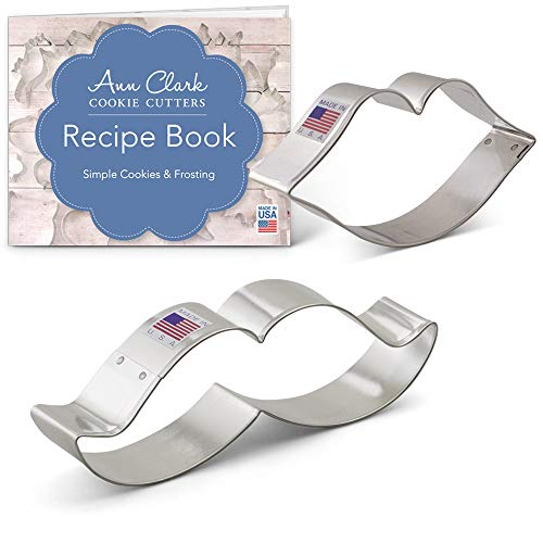 - He Said She Said Cookie Cutter Set with Recipe Booklet - 2 piece - Mustache and Lips - Ann Clark - USA Made Steel