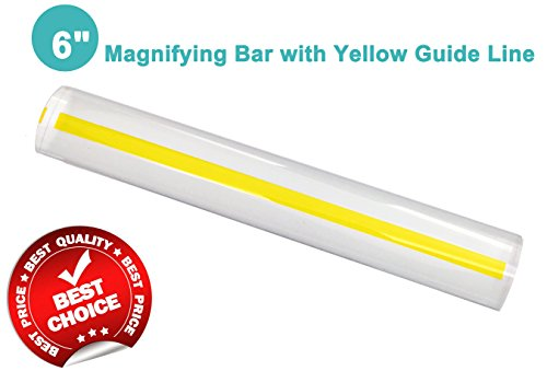"6"" Magnifying Bar Magnifier Ruler with Yellow Guide Line Ideal for Reading Small Prints and Document (With Yellow Guide Line)"
