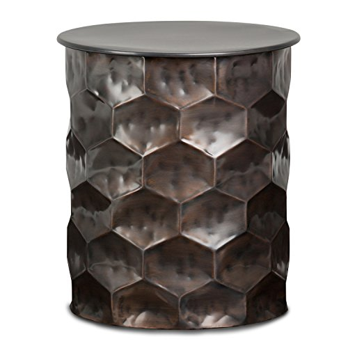 Simpli Home AXCMTBL-11-ST Whitney Contemporary 17 inch Wide Metal Storage Accent Side Table in Antique Bronze, Fully Assembled