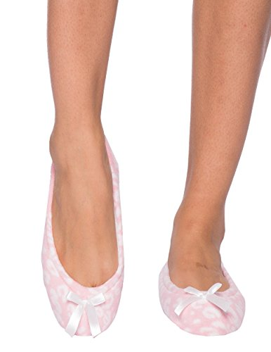 Hoge Kwaliteit Microfleece Ballet Slipper Van Nobele Top Met Boogdetail Luipaard Roze / Wit